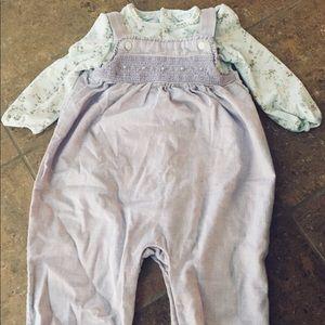 Ralph Lauren 2-Piece Smocked Overalls & Bodysuit